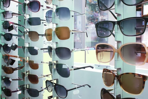 Showcase with different sunglasses